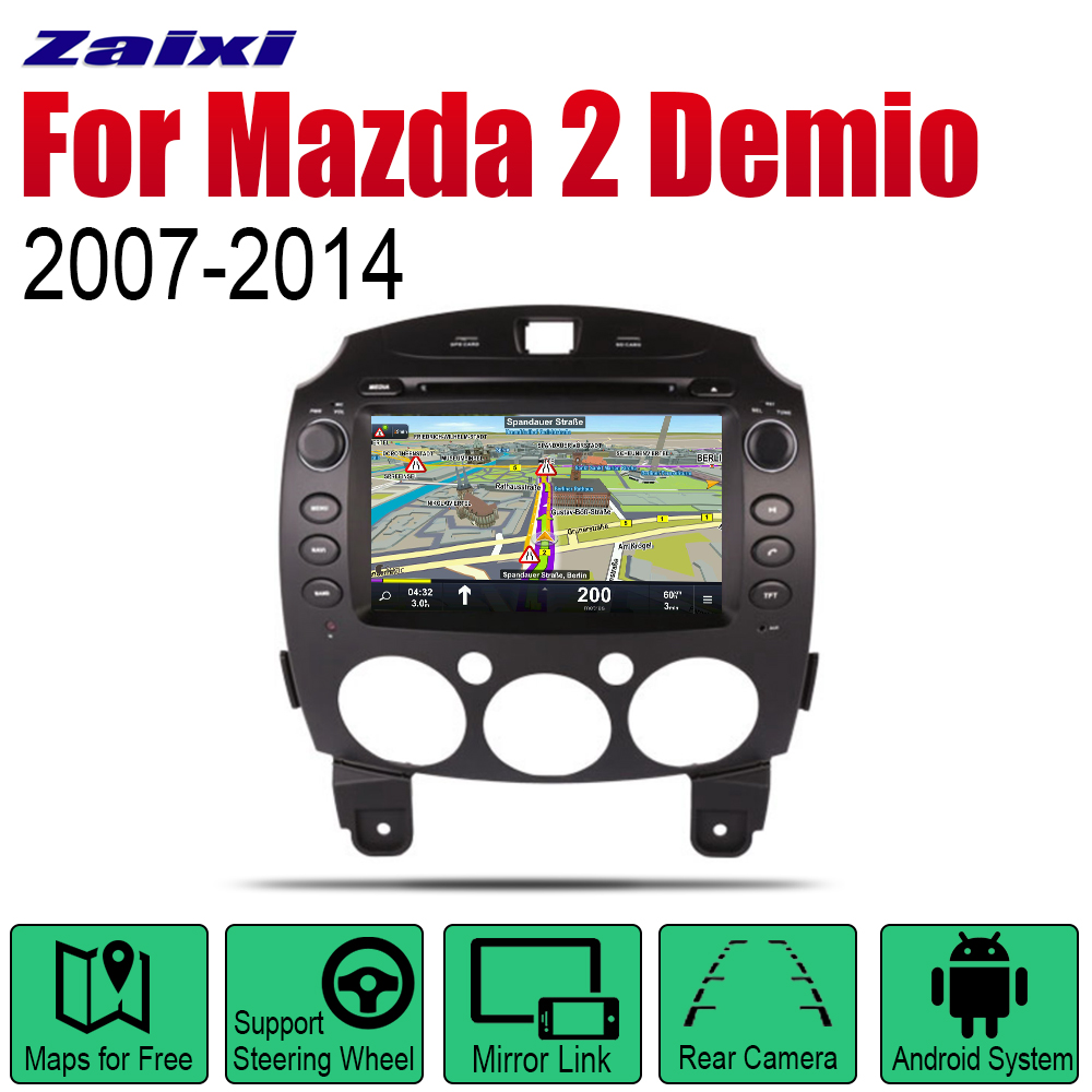 ZaiXi Android <font><b>2</b></font> Din Auto <font><b>Radio</b></font> DVD For <font><b>Mazda</b></font> <font><b>2</b></font> <font><b>Demio</b></font> 2007~2014 Car Multimedia Player GPS Navigation System <font><b>Radio</b></font> Stereo image