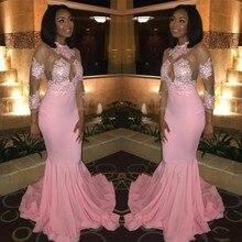 2020 Hot Sell Sheer Long Sleeves Prom Dresses African Blacks High Neck Appliqued Pink Evening Gowns vestidos de noiva