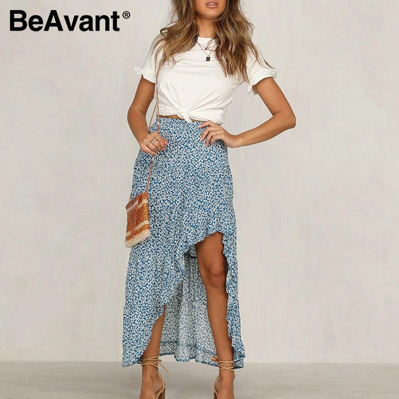 BeAvant Bohemian Summer Ruffles Skirts Women 2020 Floral Print Asymmetric Midi Skirt Casual Ladies Long Skirt High Waist Beach