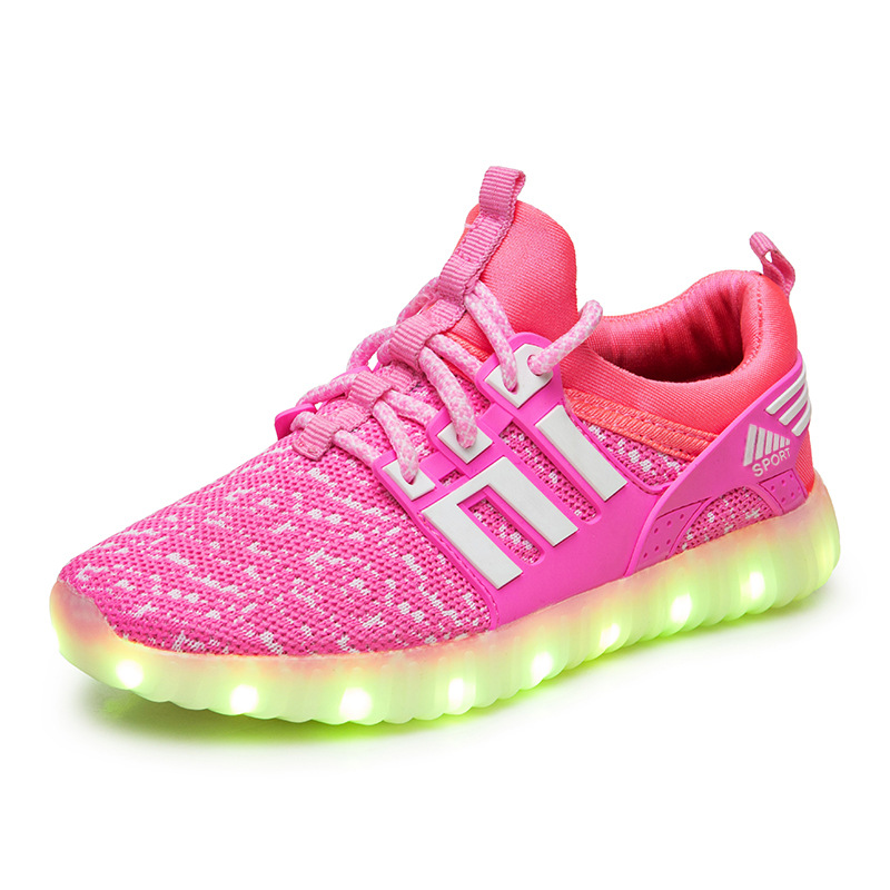 2019 New Style Usb Luminous Sneakers Glowing Lighting Shoes girls for Boy Kids Usb Charging Shoes