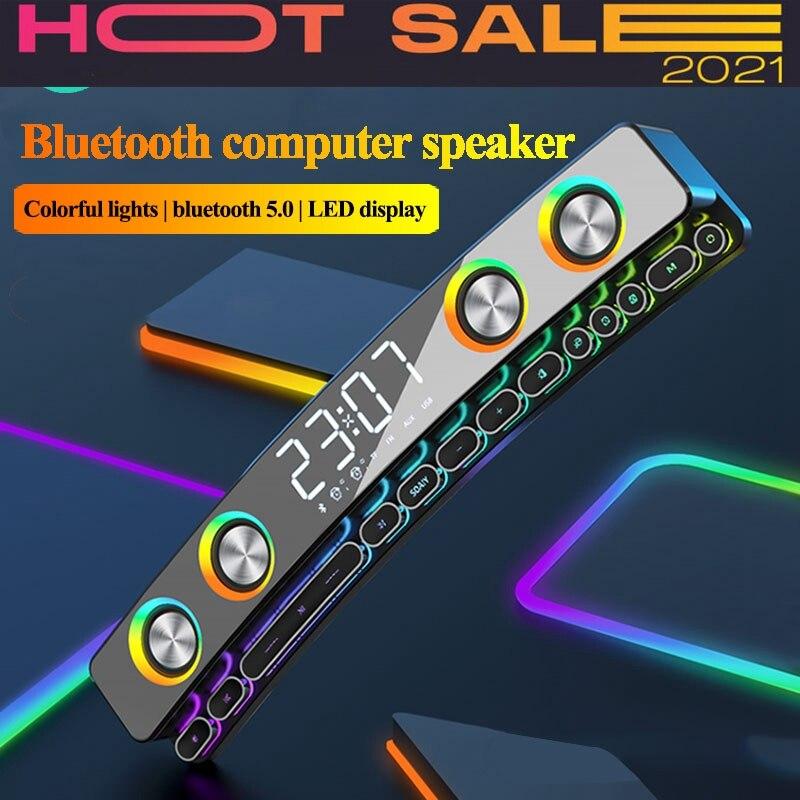 Clock Bluetooth Wireless Game Speaker Soundbar 3d Stereo Subwoofer,Computer Loudspeaker With Light,Soundbar For Tv Theater