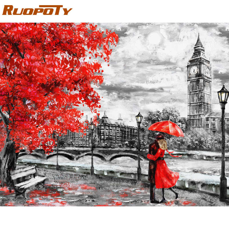 RUOPOTY Frame Diy Painting By Numbers London Lover Landscape Modern Wall Art Picture Acrylic Coloring By Numbers For Home Decors
