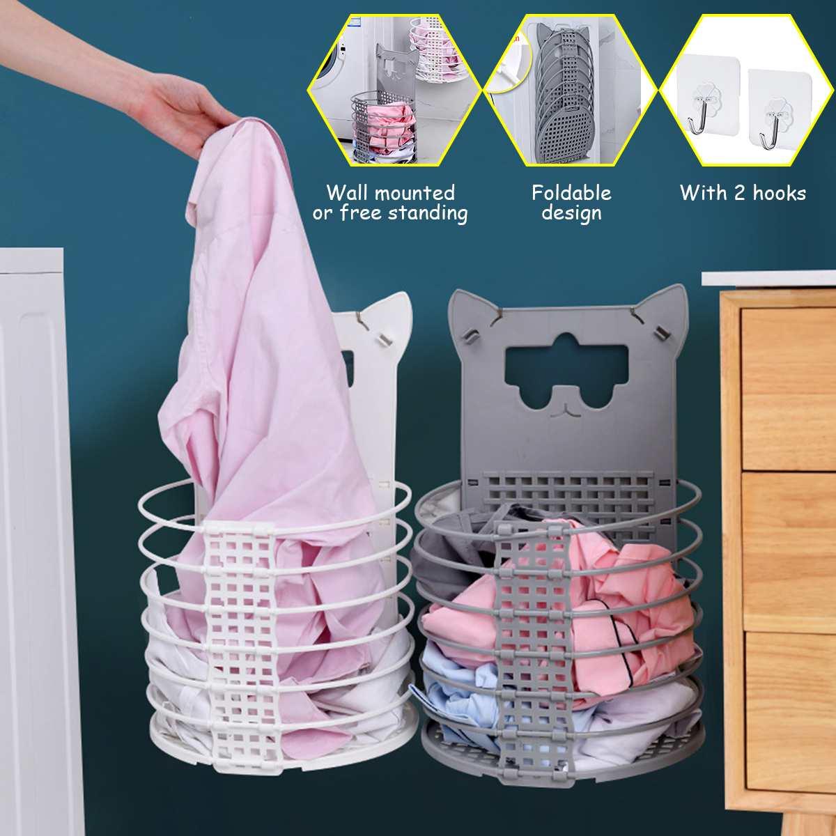Folding Hamper Bathroom Organizer Clothes Storage Basket Laundry Basket Large Wall-mounted Plastic Storage Rack For Home Storage