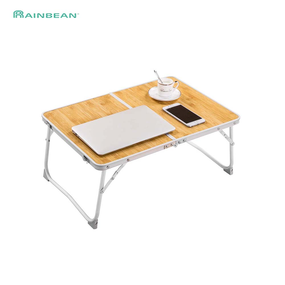 Foldable Laptop Table Desk Aluminium Alloy Leg-Bamboo Wood Grain Portable Notebook Stand Holder For Couch Floor Breakfast Bed