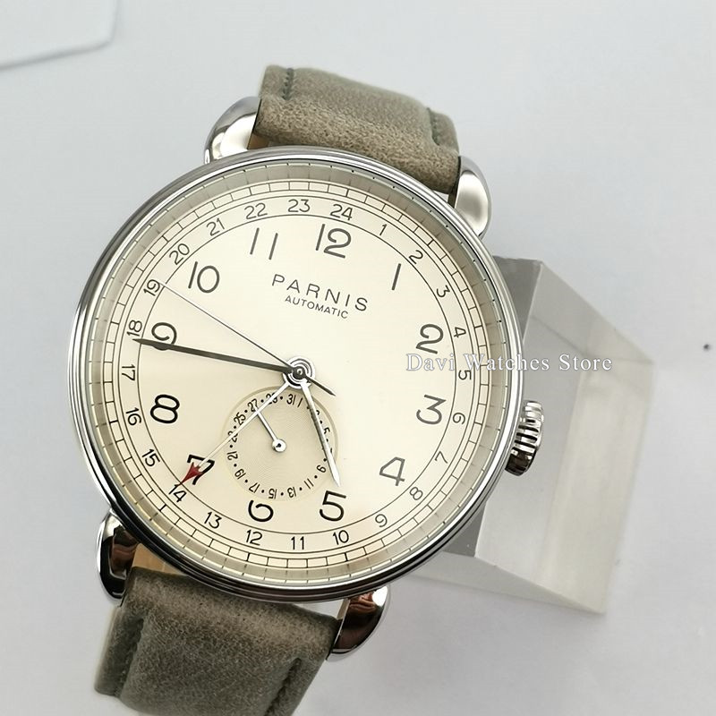 PARNIS Watch Clock New 42mm Silver case White dial date GMT automatic mens watch