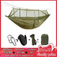 1 2 Persoon Draagbare Outdoor Camping Hangmat Met Klamboe Hoge Sterkte Parachute Stof Opknoping Bed Jacht Slapen Swing