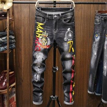 Male Jeans Men Men'S Jean Homme Denim Slim Fit Pants Trousers Black Biker Printing Designer Skinny High Quality Soft Young