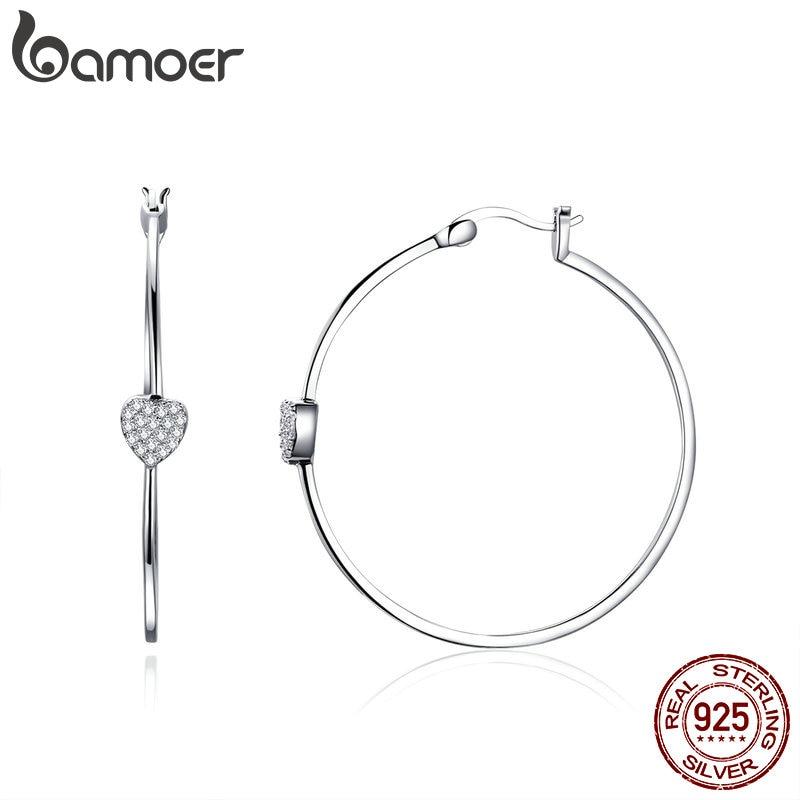 BAMOER Authentic 925 Sterling Silver Big Circle Love Heart Shape Clear CZ Drop Earrings for Women Wedding Silver Jewelry SCE518