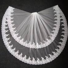Gerçek fotoğraflar beyaz/fildişi katedrali uzunluğu dantel Mantilla tığ gelin peçe Headdress tarak ile düğün aksesuarları MD3079