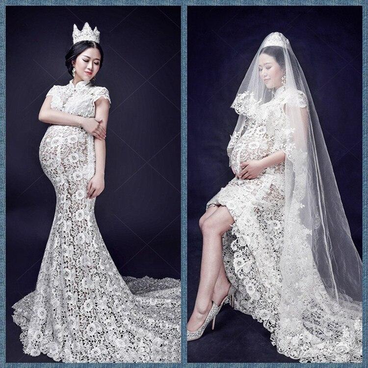 Diadème voile sexy robes enceintes blanc ajouré dentelle au crochet robe enceinte traînant robes de femmes enceintes