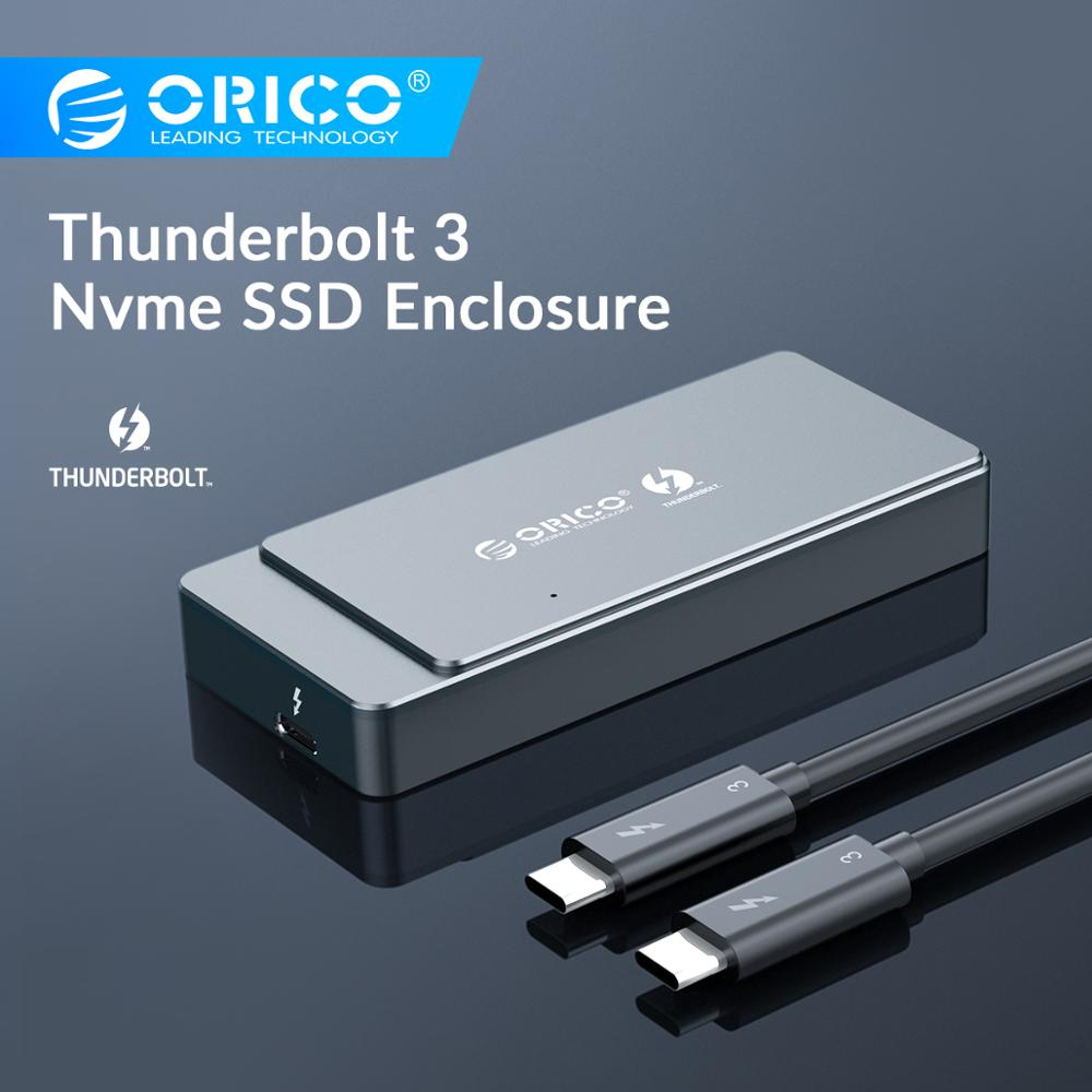 ORICO Thunderbolt 3 M.2 NVME SSD Enclosure Support 2TB Aluminum SSD Box With 40Gbps Thunderbolt 3 C To C Cable For Mac Windows
