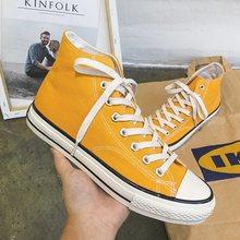 Мужские модные желтые парусиновые туфли высокие берцы удобные