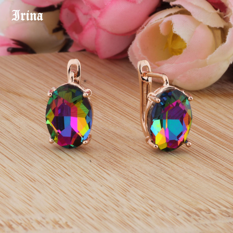 8 Color 585 Rose Gold Color Egg Shape Jewelry Colorful Earings High-quality Glass Stud Earrings for women Costume jewelery Gift 3