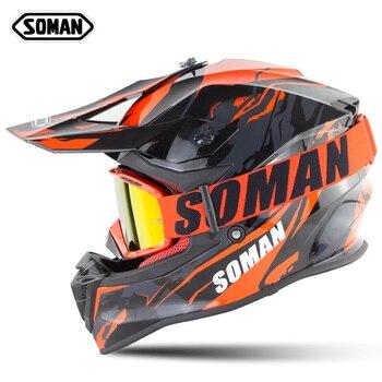 SOMAN Off Road Downhill Helmet Dirt Bike Helmet Motocross Helmet With Goggles Cross Country Helm MX Capacetes Moto Casco Casque фото