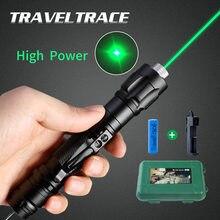 Puntero láser de alta potencia 303, recargable por USB, luz verde potente, luz Visible, mira fuerte, bolígrafo para gatos, puntero láser