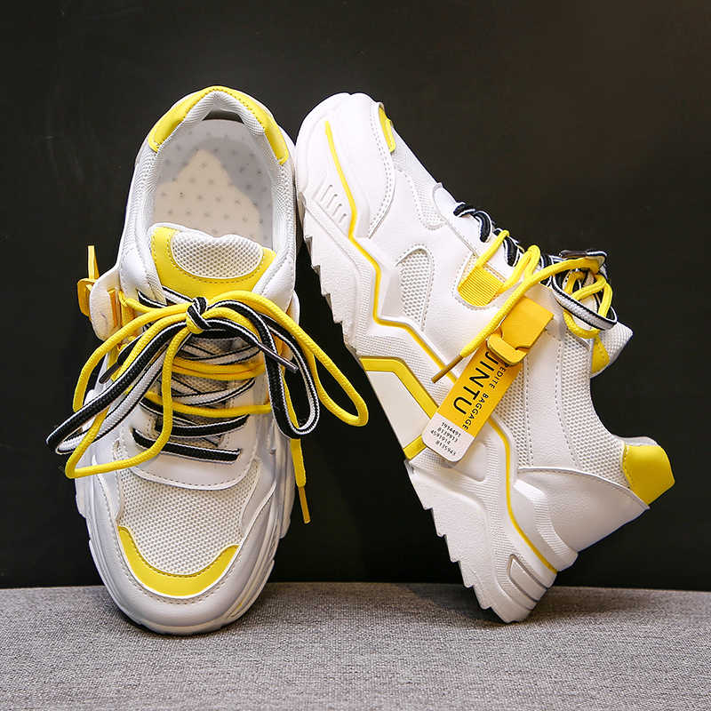 2020 Women 'S Chunkyรองเท้าผ้าใบแฟชั่นรองเท้าสตรีLace Up Vulcanizeรองเท้าสตรีหญิงTrainersรองเท้าพ่อ 89