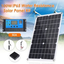 SALE 100W Solar Panel 12V Battery Charger Kit 50A Controller for Caravan Van Boat Dual USB