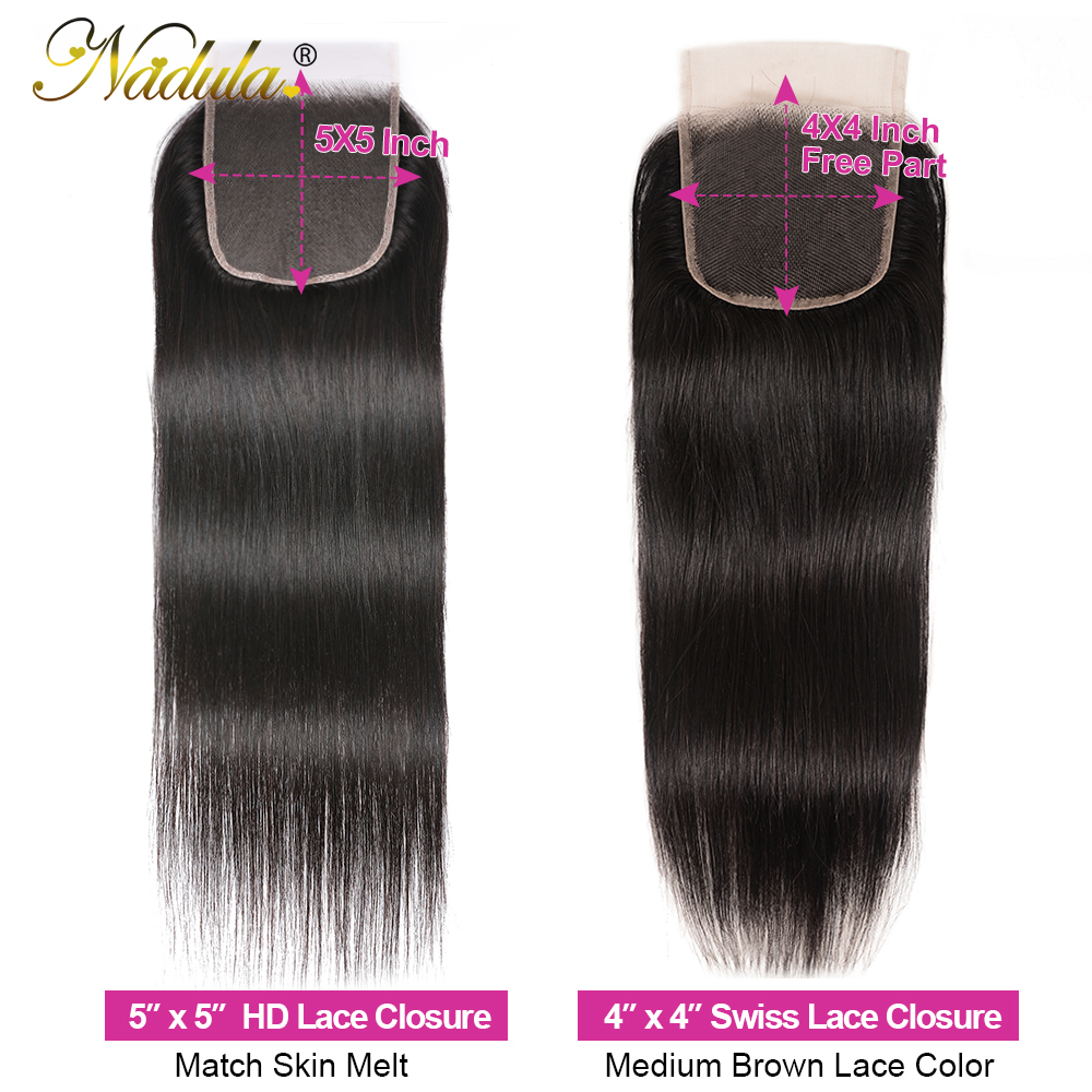 Nadula Hair HD Lace Closure Middle/Free Part Closure Indian Straight Hair Natural Color  Hair 10-20Inch Swiss Lace Closure 6