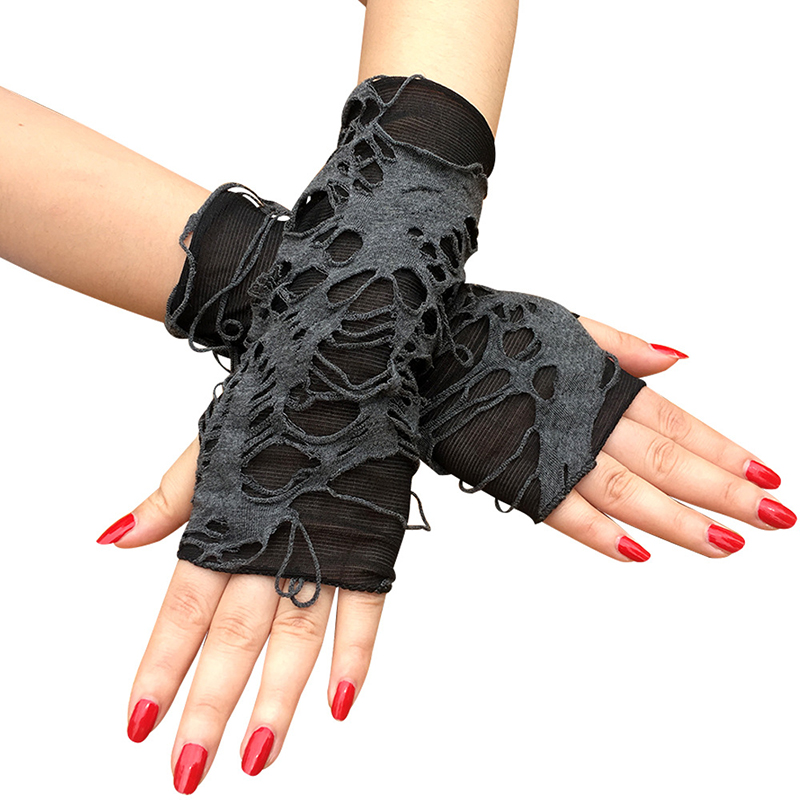 1Pair Black Ripped Holes Fingerless Gloves Gothic Punk Halloween Cosplay Party Dress Up Gloves Shabby-Style Arm Warm Glove