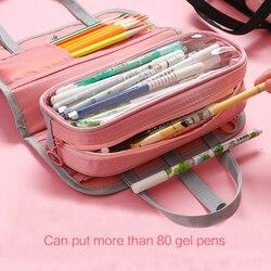 JIANWU 1PC 캔버스 스트레치 더블 레이어 대형 연필 케이스 용량 휴대용 연필 상자 귀여운 연필 홀더 어린이 학교 편지지