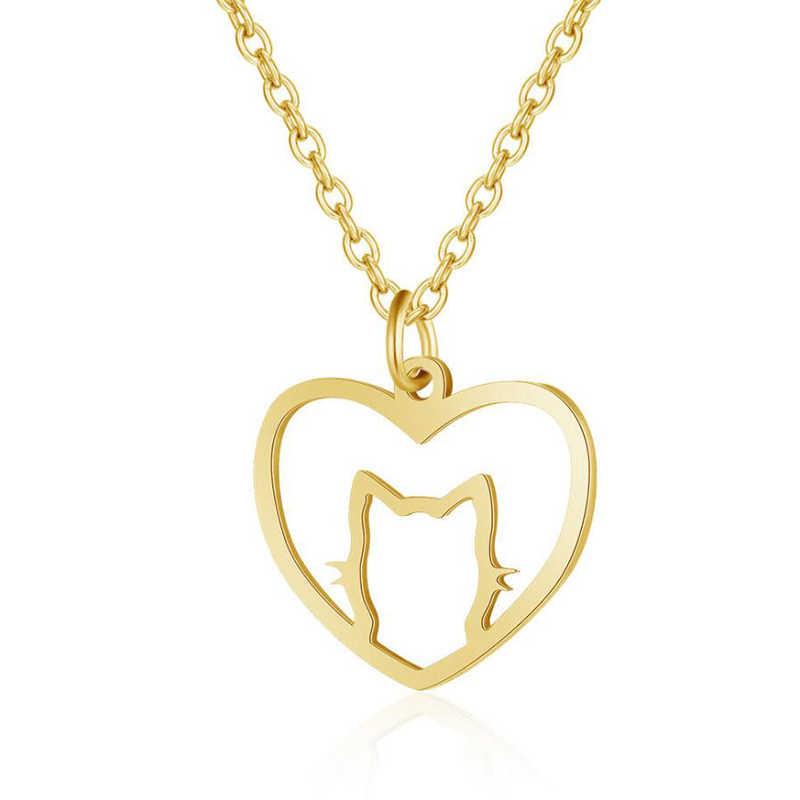 แฟชั่น Creative Hollow Love Heart น่ารัก Cat สร้อยคอจี้สแตนเลสสัตว์ทอง/เงินสร้อยคอผู้หญิง
