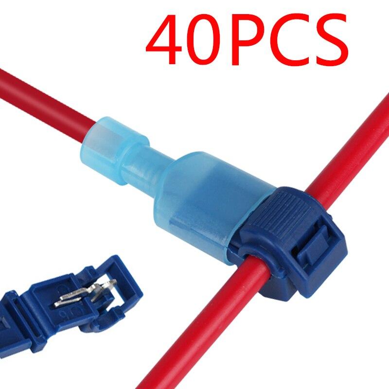 40Pcs T-탭 와이어 커넥터 빠른 전기 케이블 커넥터 스냅 스플 라이스 잠금 와이어 터미널 압착 핸드 툴 세트