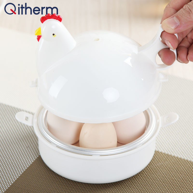 Qitherm Kitchen Eggs Steamer Chicken Shaped Microwave 4 Egg Boiler Cooker Novelty Kitchen Cooking Appliances Steamer Home Tool