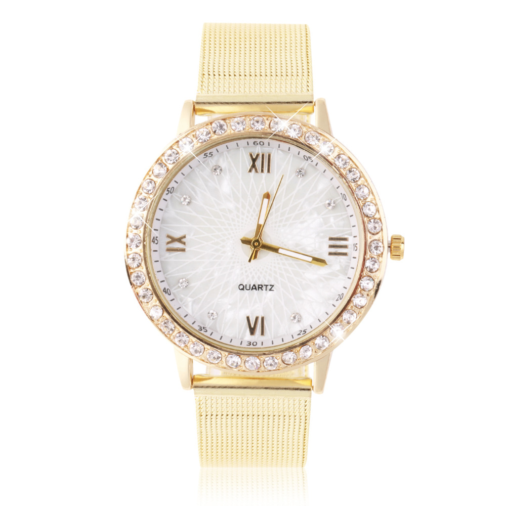 Women's Crystal Round Quartz Stainless Steel Mesh Band Wrist Watch Gift With Gold Color Relogio Masculino 2019