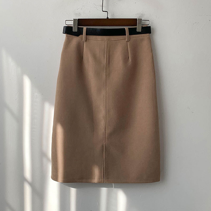 Spring Women's Skirt Casual High Waist Belt A-line Korean Style Knee-Length Skirts Womens Clothes Ropa Mujer Jupe Femme