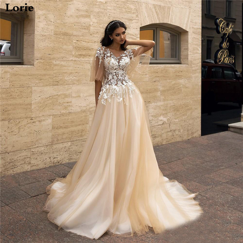 LORIE 2020 Appliques A-Line Wedding Dress Fairy Sleeves Tulle Boho Bride Dresses Vestido De Novia Princess Wedding Party Dress