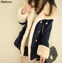 Fast Shipping 2016 winter warm coats women wool slim double breasted coat jacket fur womens jackets