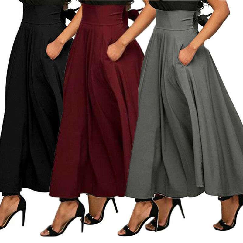 2019 High Waist Pleated Long Skirts Women Vintage Flared Full Skirt Swing Satin Skirt Casual Skirt