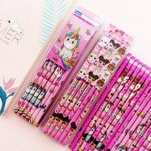 12 unids/set lindo lápiz de madera de unicornio de dibujos animados con borrador 2B bocetos artículos de muñeca sorpresa LOL material escolar para niños regalo