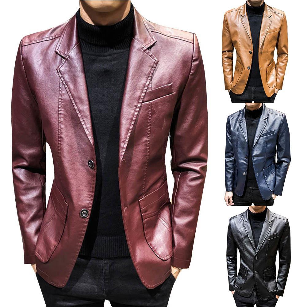 Autumn Winter Coats Jackets Men Solid Color Faux Leather Suit Jacket Long Sleeve Lapel Blazer Men's Jackets and Coats