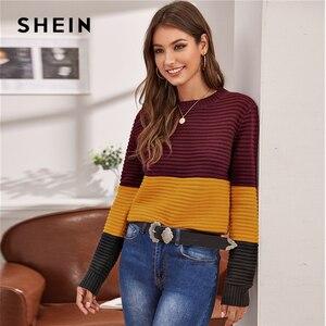 Image 3 - Женский разноцветный вязаный свитер SHEIN, мягкий теплый свитер в рубчик с круглым вырезом и длинными рукавами, Повседневная Уличная одежда на осень и зиму