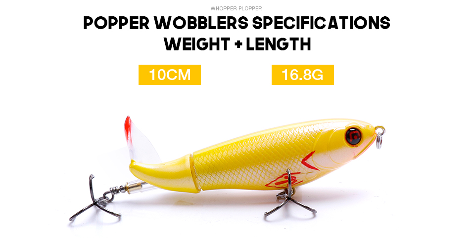 VTAVTA 5pcsLot Whopper Popper Pencil Lure Topwater Pike Wobblers Fishing Lure Set Bass Fishing Crankbaits With Rotating Tail 08