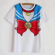 Nowy gorący Sailor moon harajuku t koszula 2018 kobiet przebranie na karnawał top kawaii fałszywe sailor t-shirty dziewczyna nowy darmowa wysyłka SALMOPH tanie tanio Brsr COTTON Modalne Drukuj Krótki REGULAR LS0008TX Łuk Suknem Na co dzień O-neck