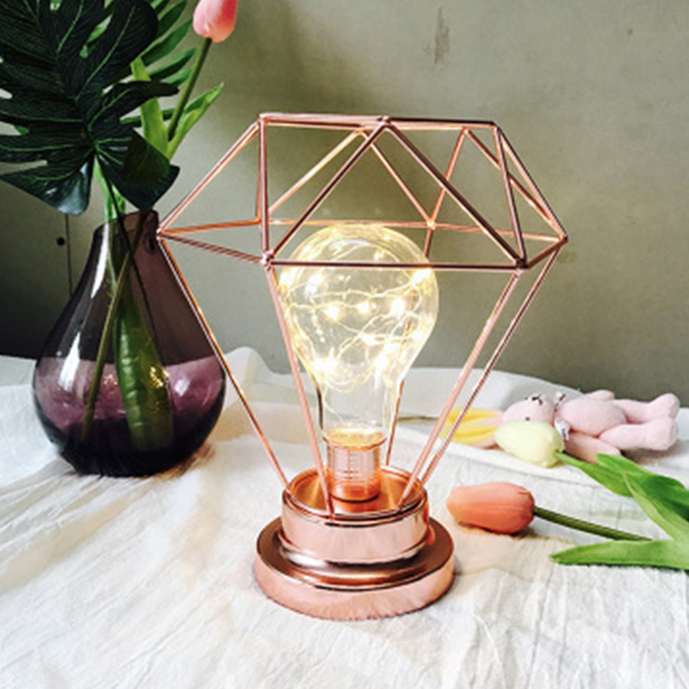 Battery Powered Luminous Night Lamp Copper Wire Led Removable Table Props Gift Kids Bedroom Festival Diamond Home Decoration