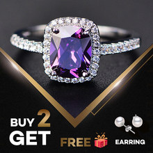 PANSYSEN Charms 7x9MM Purple Natural Amethyst Rings For Women Genuine Silver 925 Jewelry Ring Wholesale Wedding Party Gifts(China)