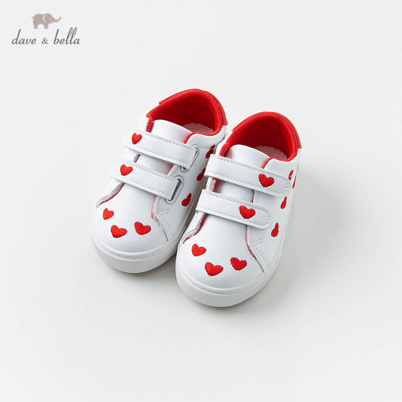 DB12861 Dave Bella Baby Girl Spring  Shoes New Born Baby Girl Casual Heart Print Shoes