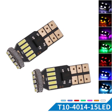 10PCs T10 W5W 194 Canbus Error Free Wedge Bulbs 4014 15 SMD LED Can-bus Auto Clearance Warning Lights 6500K Non-polarity