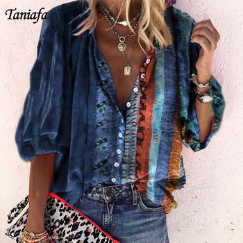 Tanifa 2020 Fashion Floral Print Shirts Women V Neck Long Sleeve Button Tops Casual Loose Plus Size Button-up Shirts Blouse v neck belt button up waistcoat