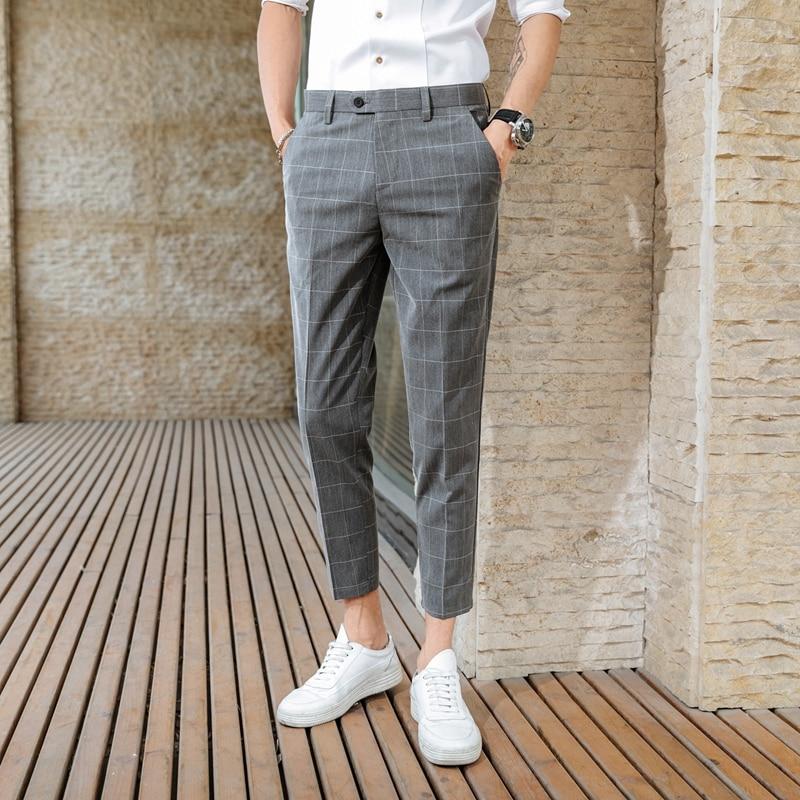 2019 Suit Pants Summer Men's Plaid Business Casual Nine Points Suit Pants Men's Trousers Men's Plaid Slim Nine Points Suit Pants