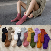 Manufacturers Direct Selling Autumn New Style Female Wide Mouth Not Feel Tight with Feet Solid Color Short Cotton Socks Breathab