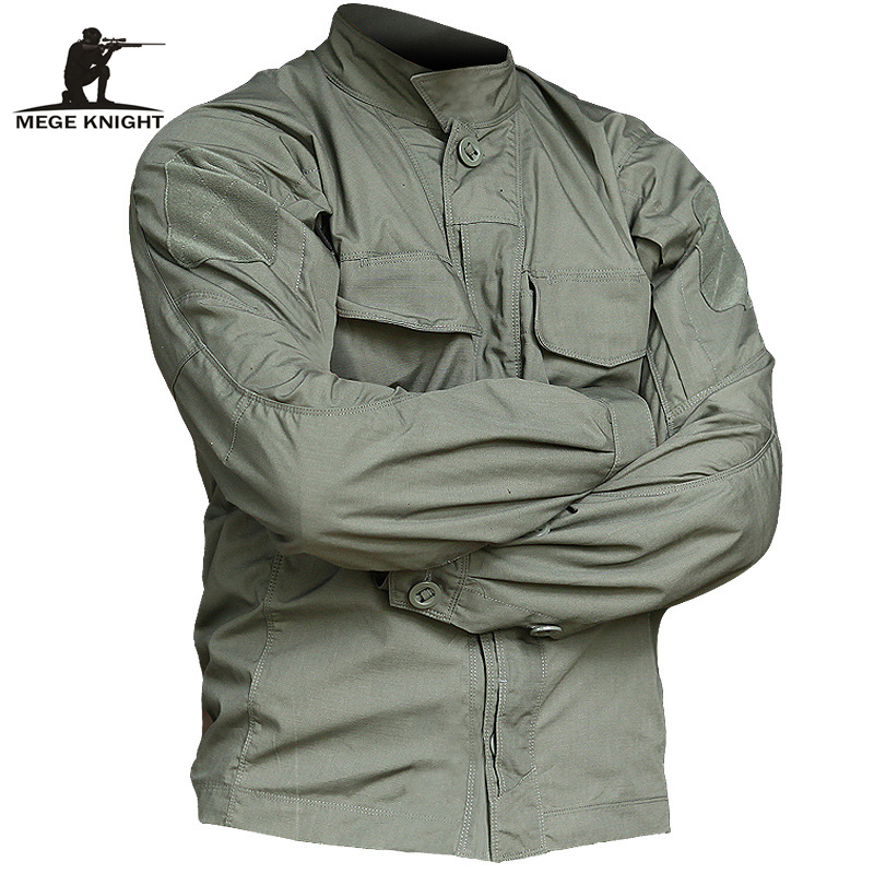 MEGE Brand Tactical Jacket Shirt Military Army Clothing Camouflage Multi Pockets Spring Summer Male Combat Outwear Rip Stop
