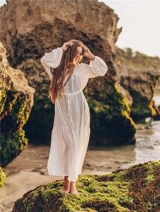 Image 4 - Weiß Spitze Strand Kleid Für Frauen Lange Kaftan Sonne Beachwear Kleider 2020 Sommer Sommerkleider Plus Größe Tunika Robe Blanche Saida de