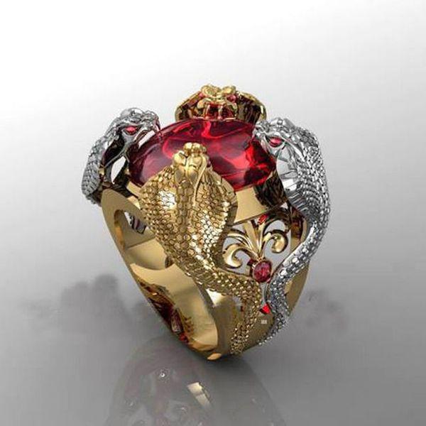Ouro de luxo cor prata vermelho cristal cobra anel personalidade exagero cocktail festa anéis masculinos punk legal anel jóias