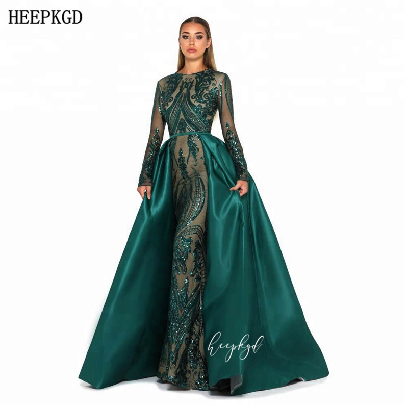 Arabic Evening Dress New Design Detachable Glitter Sequins Lace Long Sleeves Mermaid Prom Gowns Robe De Soiree Custom Made