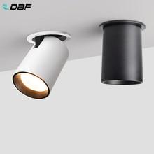 [DBF] מתקפל LED תקרה שקוע אור 7W 12W LED ספוט אורות סלון טלוויזיה רקע קיר מעבר תקרת COB Downlight