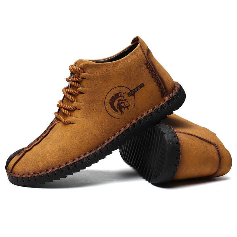 Мужские ботинки высокого качества из спилок; зимние сапоги из кожи; Мужская обувь; теплая плюшевая зимняя обувь; большие размеры 38-48